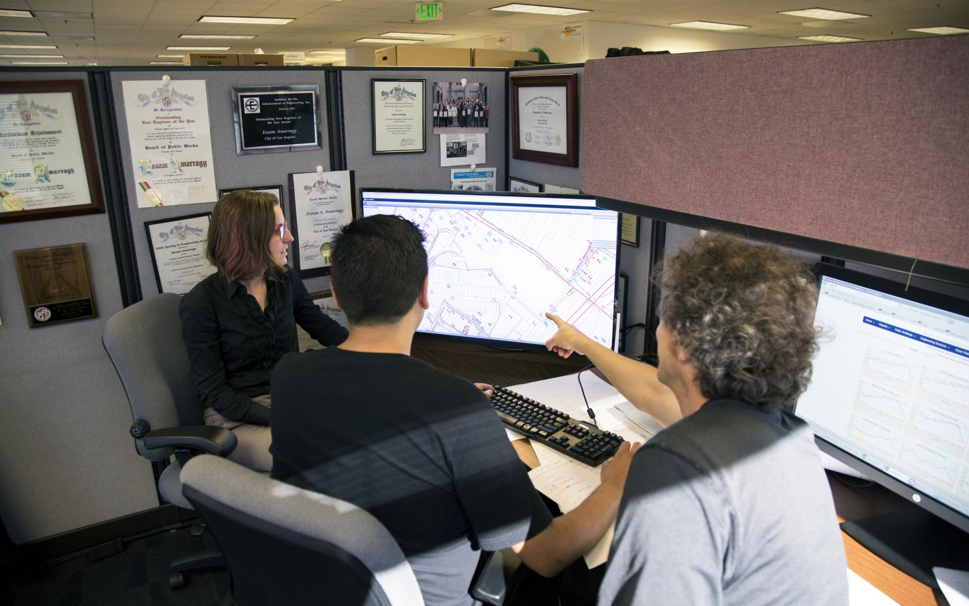 Staff using NavigateLA, a GIS application created in-house by the Land Development and GIS Division